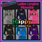 IRISH IRELAND HAPPY ST PATRICKS DAY FLAG EMBLEM LADIES TEENAGERS LONGLINE HOODIE